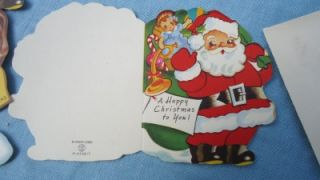 Vintage 50s Unused Childrens Christmas Cards A Meri Card Santa Cat