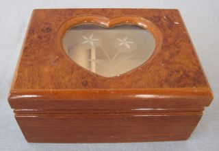 Hinged Wood Wooden Jewelry Storage Box Heart Cut Out