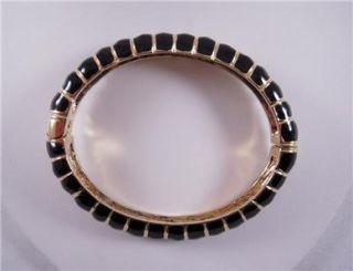 Kenneth Jay Lane Black Enamel Ribbed Bracelet