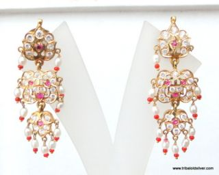 Vintage Antique Solid 22 Carat Gold Earring Pair Rajasthan India