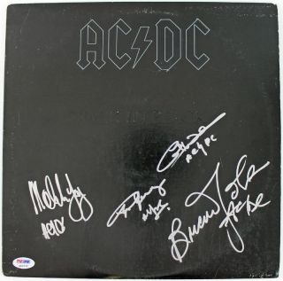 AC/DC (4) ANGUS YOUNG MALCOM JOHNSON & WILLIAMS SIGNED ALBUM COVER PSA