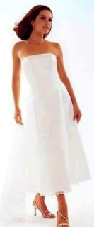 Jessica McClintock White Short Satin Lace Bridal Wedding Formal Dress