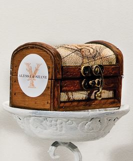 Decoration Mini Rustic Wooden Jewelry Treasure Chest Boxes