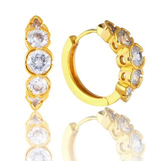 CUT HOOP HUGGIE CUFF PIERCED WHITE TOPAZ YELLOW GOLD PLATED EARRINGS