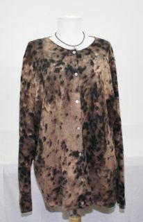 Jillian Jones Beaded Brown Black Wool Angora LS Button Front Cardigan