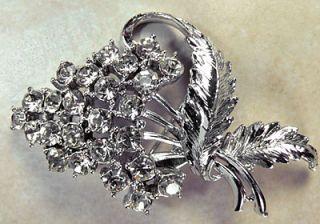 Coro Jewelry Signed Vintage Coro Pin Rhinestone Flower Bouquet Rhodium