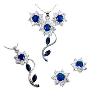 Party Jewelry Set Jewellery Round Cut Blue Sapphire Pendant Earrings