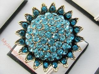 Multicolor Sunflower Style Crystal Rhinestone Fashion Jewelry Gold
