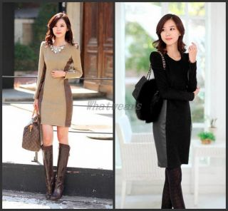 JJ Womens Elegant Patched Contrast Color Slim Long Sleeve Dress