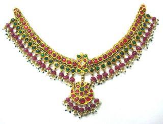 20k gold vintage ethnic tribal choker necklace kundan polki gemstone