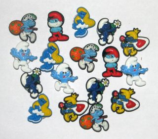17pcs Lovely The Smurf Shoe Charms Fit Jibbitz Croc 024