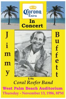 Jimmy Buffett His Coral Reefer Band at West Palm Beach Concert Poster