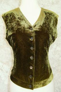 Jil Sander Olive Stretch Soft Velvet Vest Top M DK Grn Holiday Evening