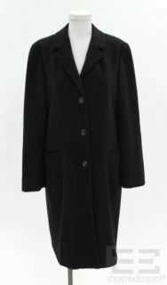 Jil Sander Navy Blue Cashmere Button Up Coat Size 36