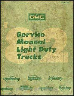 1982 GMC Truck Shop Manual Sierra Van Jimmy Suburban Vandura 1500 2500