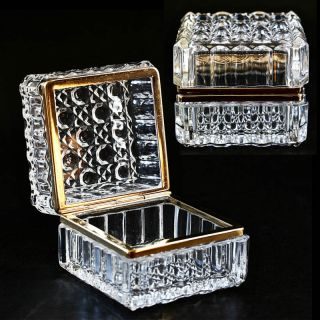 Clear Crystal Glass Hinged Trinket Jewelry Box Casket Ormolu