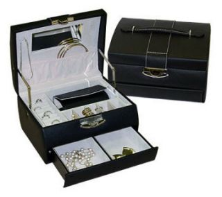 697 Black Faux Leather Travel Jewelry Box Earring Case