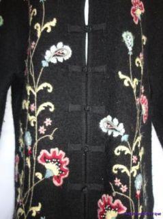 MERCER & MADISON black BOILED WOOL Zen embroidered CARDIGAN Sweater