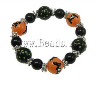 Fashion Black Brushwork Glass Beads Halloween Stretch Bracelet Ghost