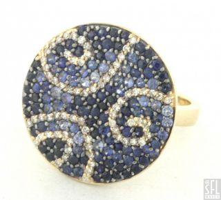 Effy 14k Gold 3 70ctw Diamond Blue Sapphire Cluster Cocktail Ring Size