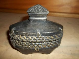 Basket Weave Wicker Rattan Nipa Hut Motif Trinket Jewelry Box