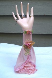 Vintage Chic Hand Mannequin Jewelry Ring Holder Display Roses Lace