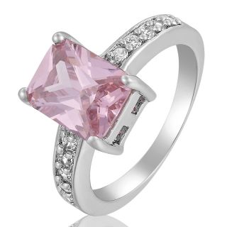 CUT 18K WHITE GOLD PLATED PINK SAPPHIRE FASHION JEWELRY LADIES RING 6