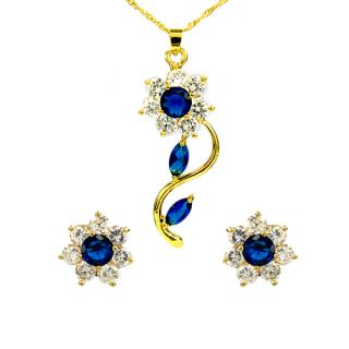 Wedding Jewelry Set Blue Sapphire 18K Gold Plated Pendant Earrings for