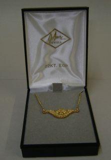 Vintage Joanne Jewels Cherub Angel Suspended Necklace 22kt EGP Gold