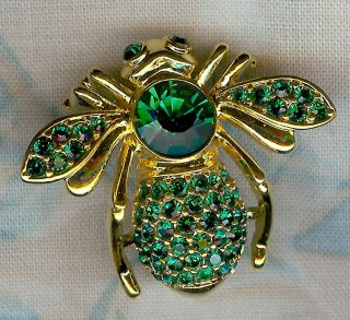 Joan Rivers Emerald Crystal May Birthstone Bee Pin in Goldtone
