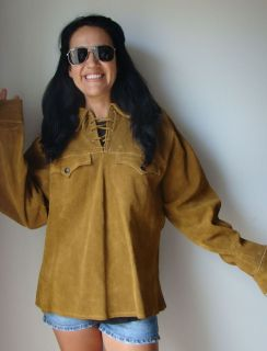 MENS VINTAGE JO O KAY 1963 SUEDE LEATHER HIPPIE PULLOVER SHIRT WITH