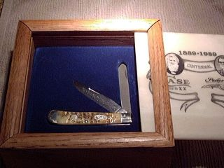 Case xx 100th anniversary Jim Parker damascus trapper knife Marble