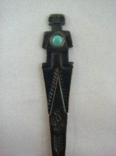 Sterling Silver Native American South Western Turquoise Souvenir Spoon