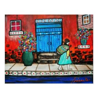 FOLK ART MEXICAN DOOR PAINTING POSTER