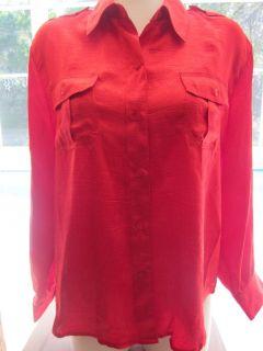 Joanna Petites XL size PXL Red Shiny Crinkled Polyester Blouse Shirt