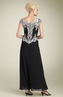 New J Kara Beaded Mock Two Piece Chiffon Gown Black/Silver/White Size