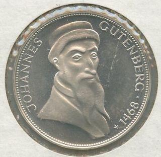 1968 G Germany Johannes Gutenberg 5 Five Mark Silver Proof Coin