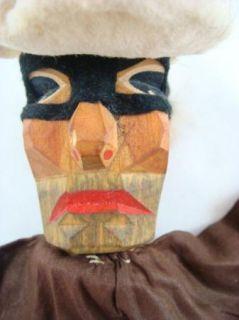 Antique Vintage Hand Carved Wooden Hand Puppet Masked Burglar Robber