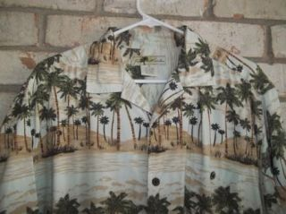 Green Palm Tree Beach Hawaiian Joe Marlin Camp Shirt Sz XL