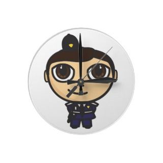 Cartoon Character Policeman Wall Clock