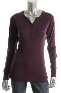 Jockey New Purple Waffle Thermal Snap Placket Long Sleeve Henley Top