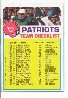 BRADY cards 1973 Patriots Ckst  JOE NAMATH ON fLIP SIDE Rare bvTO$20