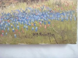 Vintage Signed w B Franklin Oil Painting Texas Bluebonnets Landscape