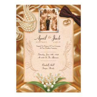 Classic Vintage Wedding Invitation  5.5 x 7.5