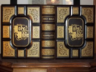 1870 Cassells Illustrated Family Bible RARE Antique Display Huge
