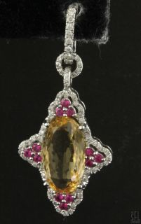 18K White Gold Fancy Unique 10 36ctw Diamond Ruby Citrine Dangle