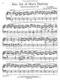 JOHANN SEBASTIAN BACH   JESU, JOY OF MANS DESIRING   PIANO SOLO SHEET