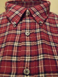 Mens John Ashford M XL XXL Burgundy Plaid Flannel Long Sleeve Casual