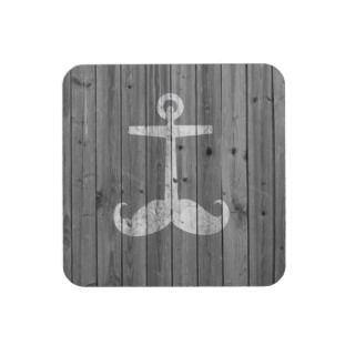 Hipster white mustache anchor on retro gray wood beverage coasters