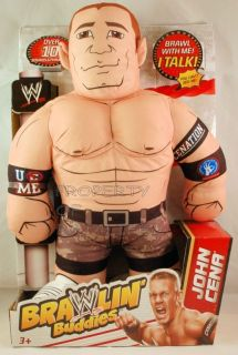 JOHN CENA WWE Brawlin Brawling Buddies Talking Toy Pillow Doll Mattel